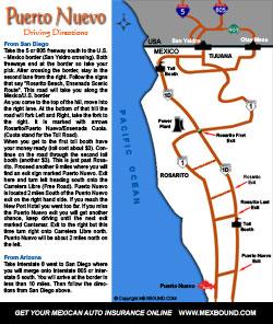 Puerto Nuevo Map and Map of Puerto Nuevo Lobster Village - Baja ...